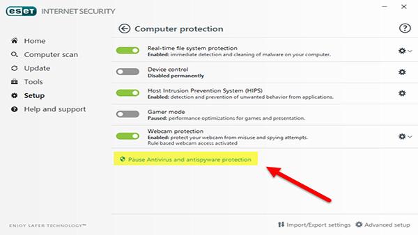 غیر فعال کردن آنتی ویروس-رایانه کمک3
