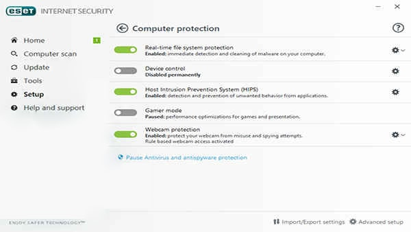 بخش Computer protection آنتی ویروس eset | رایانه کمک تلفنی