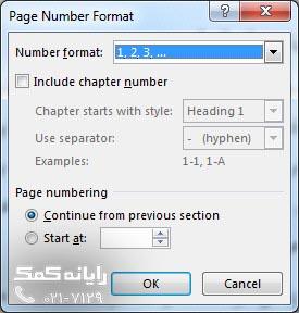 پنجره Format Page Numbers-rayanekomak