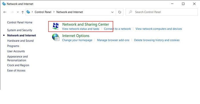 network and sharing center | حل مشکلات ویندوز